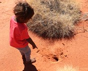Kids learning to track Mankarr on Martu Country